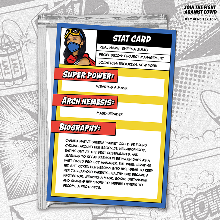 Civic employee shares her story on a comic-book style trading card.