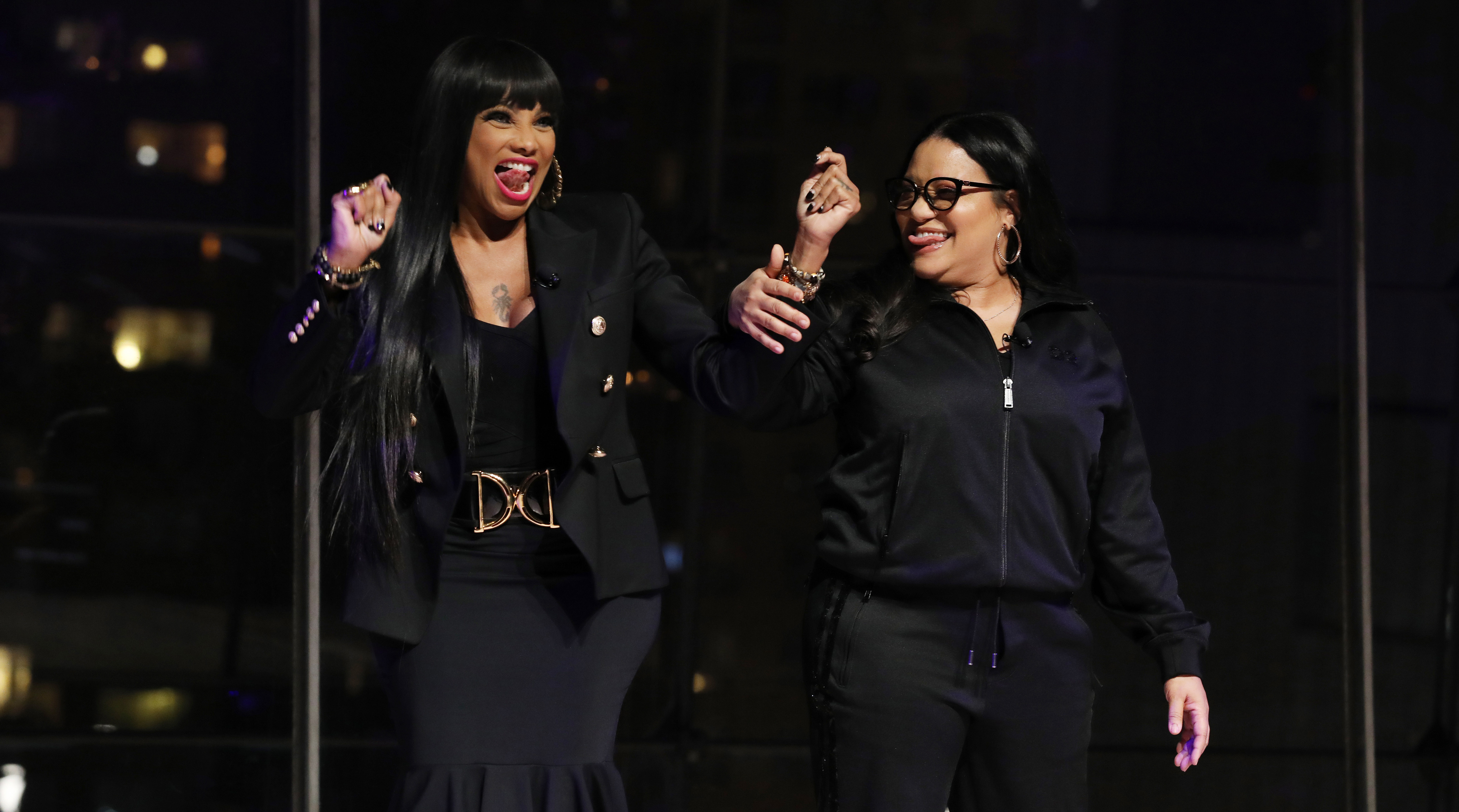 Sandra Denton and Cheryl James of Salt-N-Pepa speak onstage during the 2019 A+E Networks Upfront at Jazz at Lincoln Center on March 27, 2019 in New York City. [Photo by Cindy Ord/Getty Images for A+E Networks]