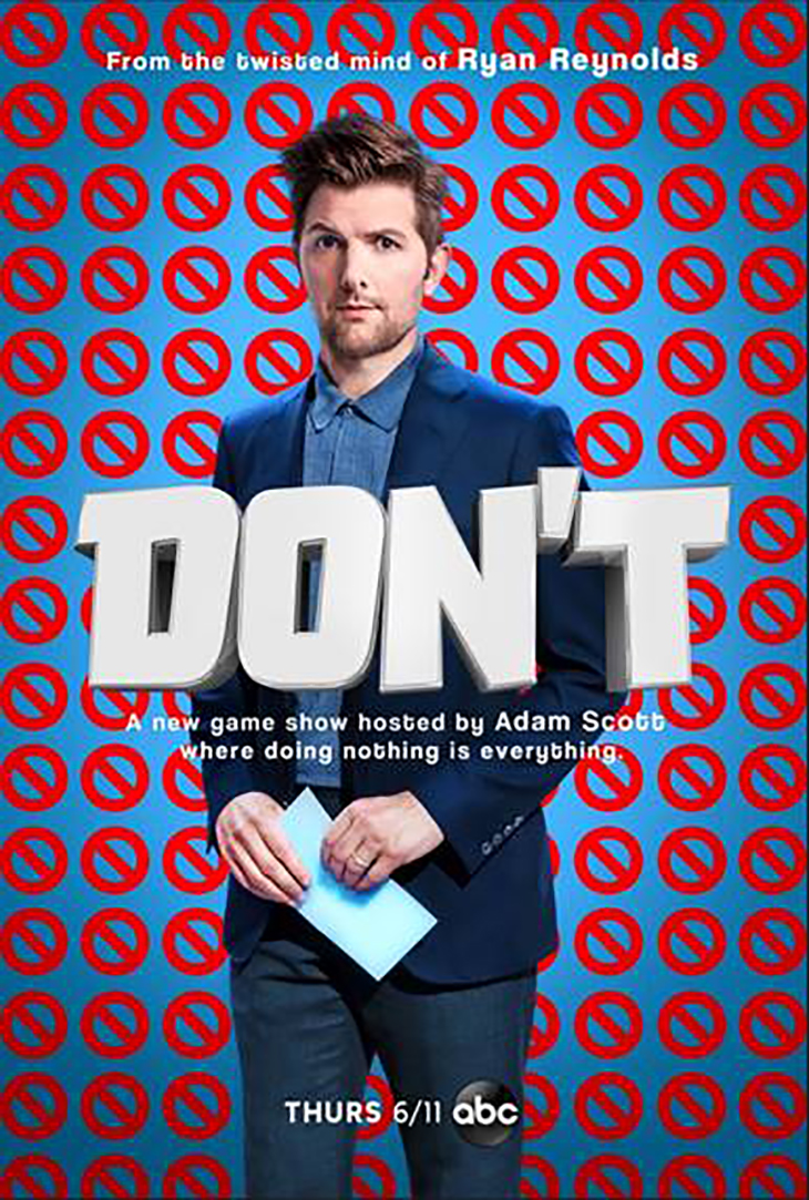 Key art for ABC's new summer game show, 'Don't,' starring Adam Scott