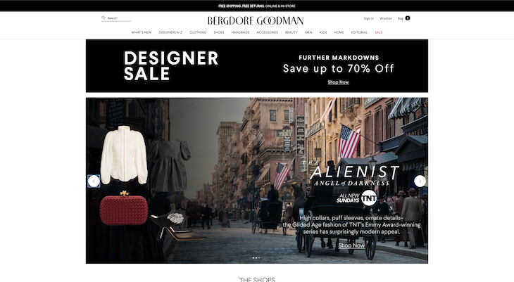 Bergdorf Goodman's landing page for 'The Alienist: Angel of Darkness'
