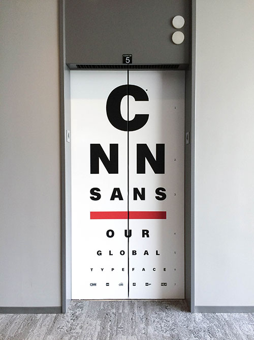 Elevator wrap created to help promote the introduction of Sans to employees
