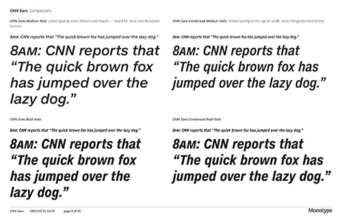 This is an example of some of the correspondence with the type house Monotype. These kinds of docs helped CNN establish default letter/word spacing parameters. (Image courtesy of CNN)
