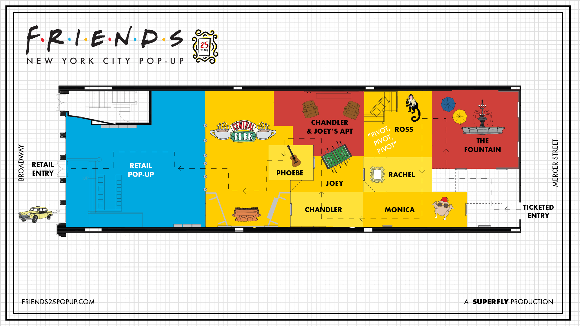 'Friends' pop-up experience layout. [Warner Bros.]