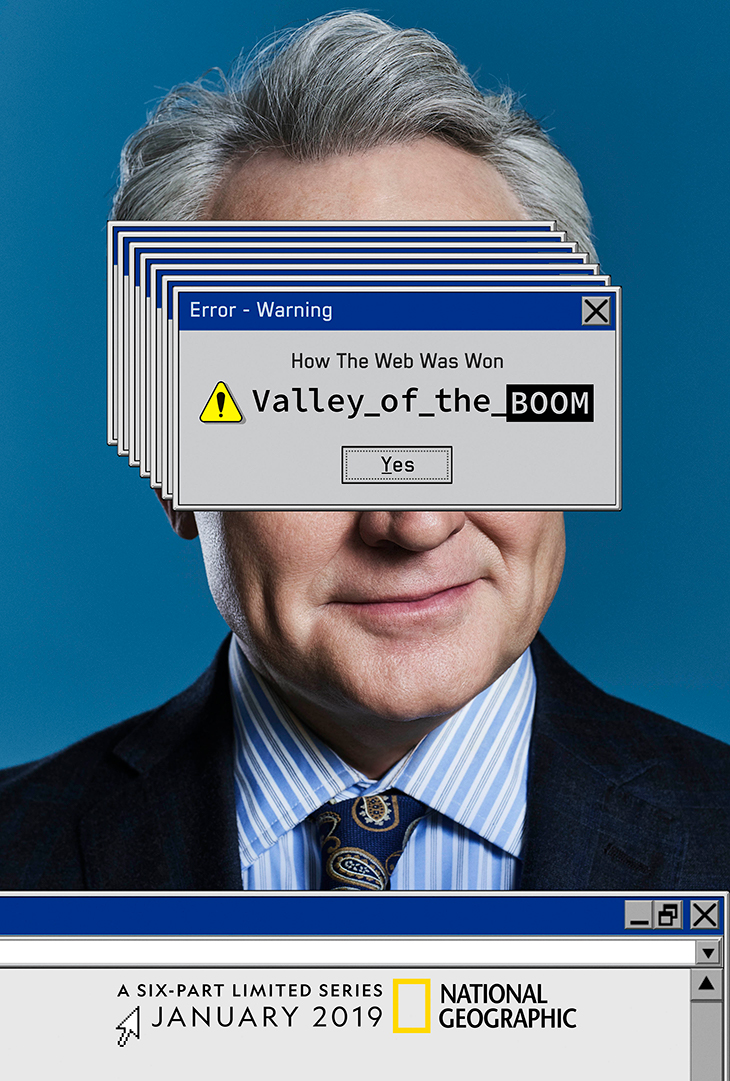 Key art for 'Valley of the Boom' featuring the partially obscured face of star Bradley Whitford