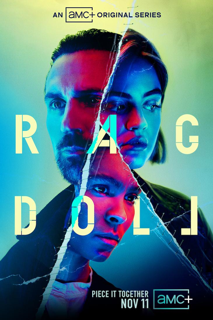 Key art for AMC Plus' new serial-killer thriller 'Ragdoll,' coming Nov. 11.