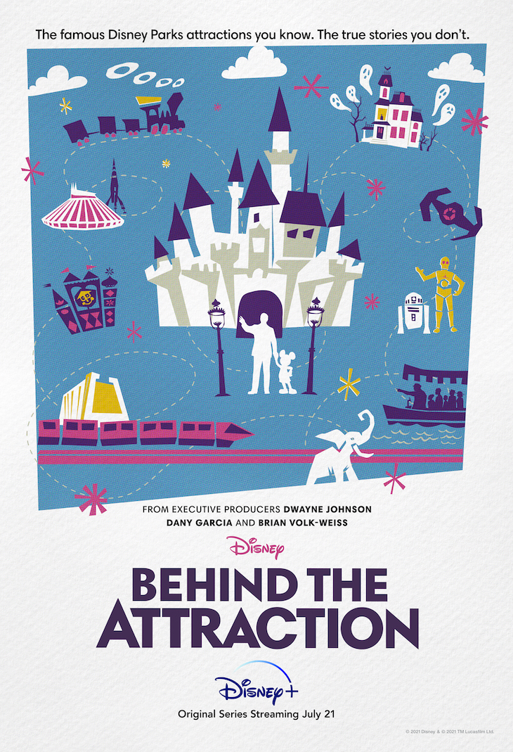Key art for Disney Plus' new 10-part series, 'Behind the Attractions,' executive produced by Dwayne Johnson.
