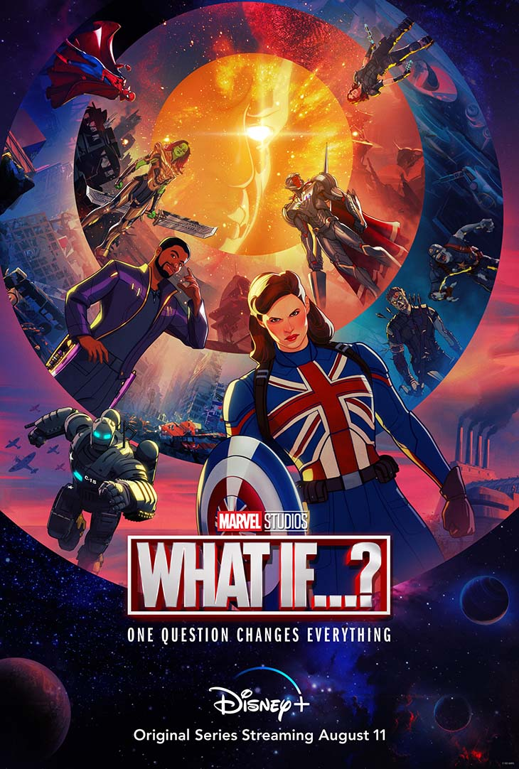 Key art for Disney+'s new animated Marvel series, 'What If?' premiering August 11