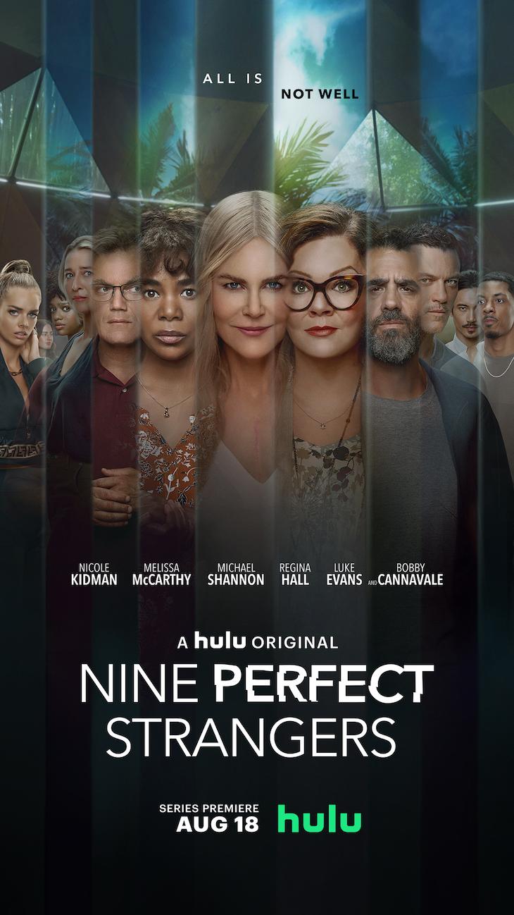 Vertical key art for Hulu's 'Nine Perfect Strangers,' based on best-selling novel by Liane Moriarty.