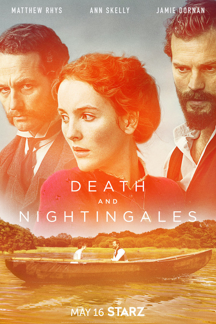 Key art for Starz' three-part limited series 'Death and Nightingales' based on best-selling book