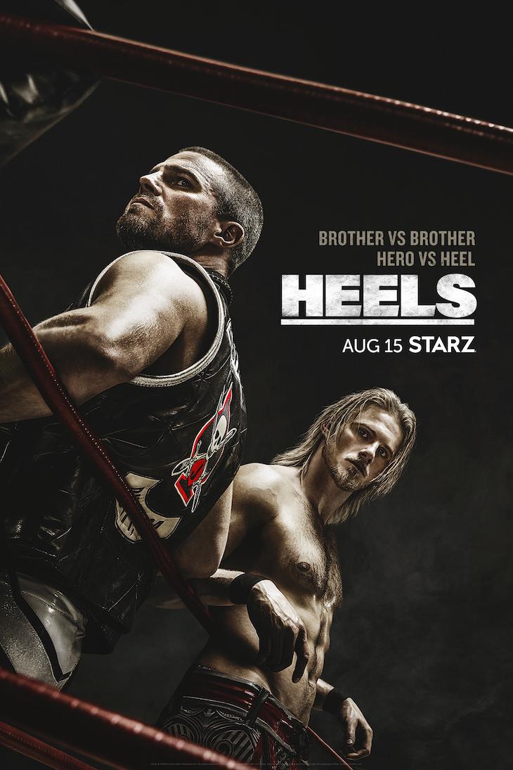 Vertical key art for Starz' new wrestling drama, 'Heels.'
