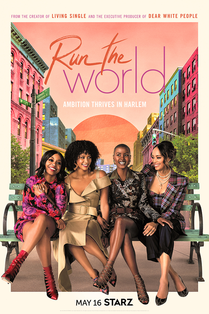 Key art for Starz' new series 'Run the World,' set in Harlem.