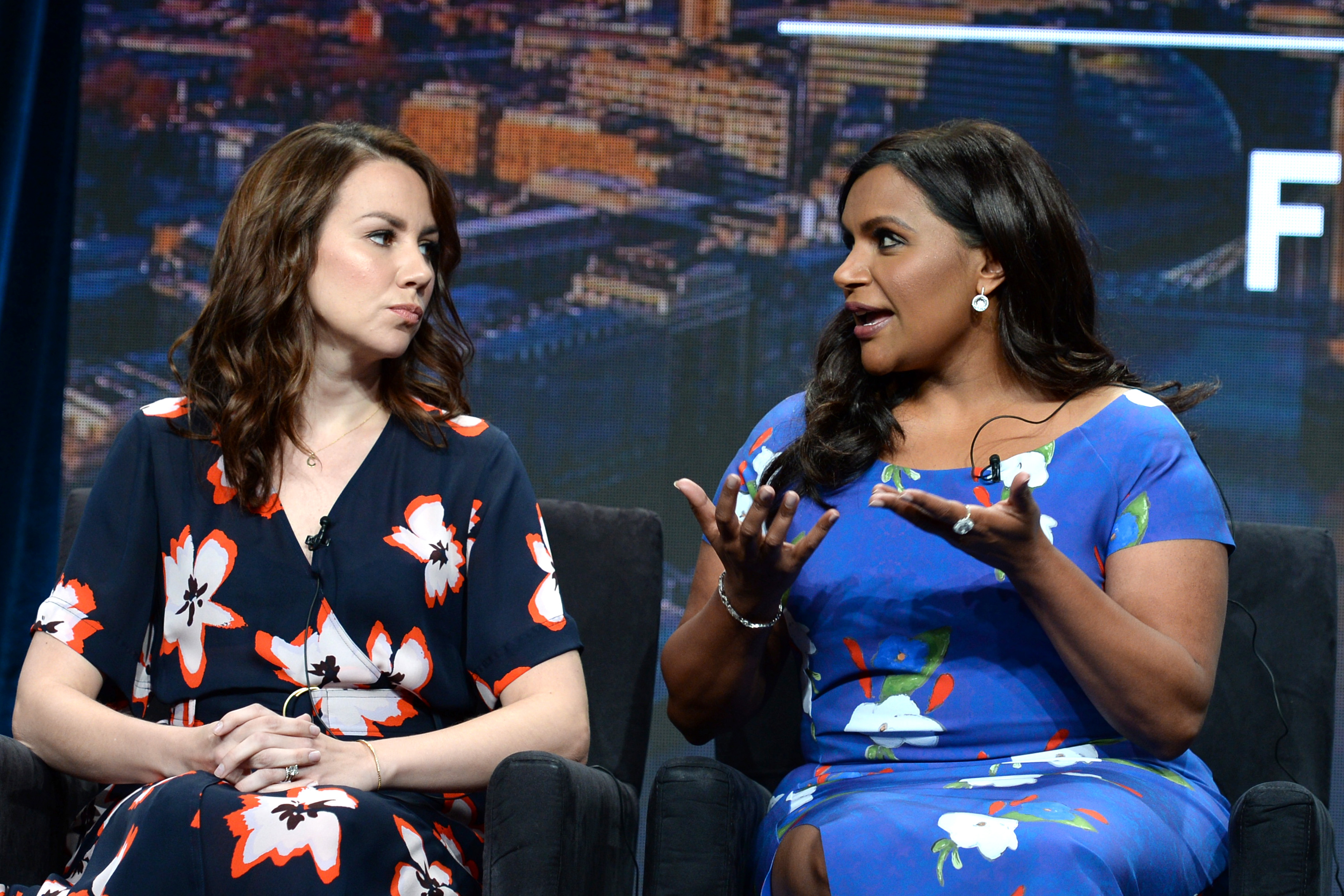 Tracey Wigfield and Mindy Kaling speak onstage during the Hulu 2019 Summer TCA Press Tour at The Beverly Hilton Hotel on July 26, 2019 in Beverly Hills, California. [Andrew Toth/Getty Images for Hulu)