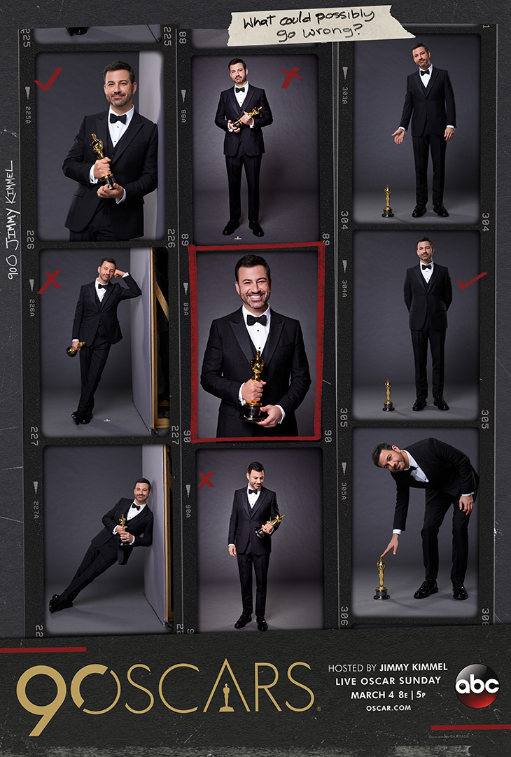 ABC Television and The Academy of Motion Picture Arts and Sciences released a first look at the 90th Oscars official key art featuring host Jimmy Kimmel. [Credit: ABC] ABC Television and The Academy of Motion Picture Arts and Sciences released a first look at the 90th Oscars official key art featuring host Jimmy Kimmel. [Credit: ABC]