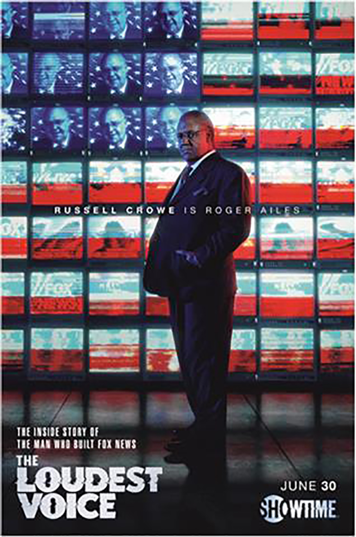 Key art featuring Russell Crowe as Roger Ailes in Showtime's 'The Loudest Voice'