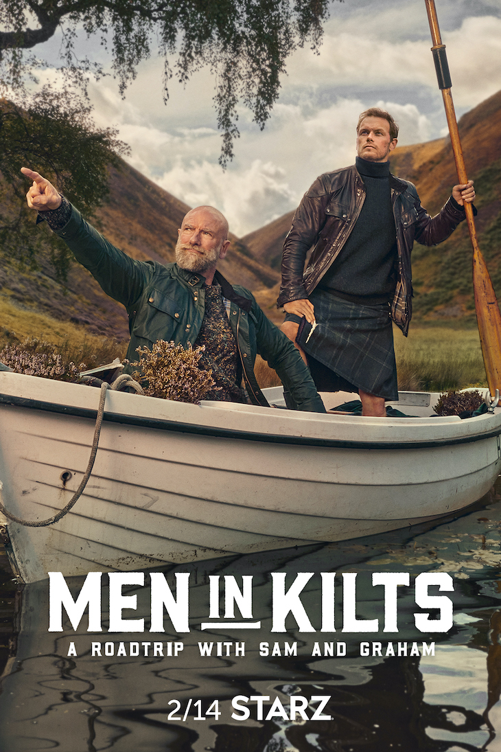 One of several pieces of key art for Starz' upcoming docuseries 'Men in Kilts'